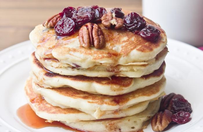 Tart Cherry Greek Yogurt Pancakes With Tart Cherry Maple Syrup